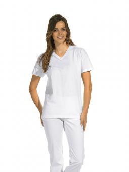 T-Shirt für Damen und Herren, Leiber 08/2448, 100% BW, V-Ausschnitt, weiß