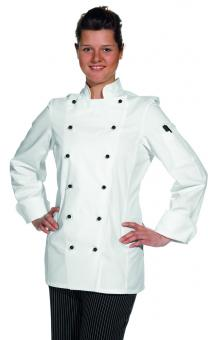 Damen Kochjacke Leiber 08/572, 100% Baumwolle, Kugelknöpfe, weiß
