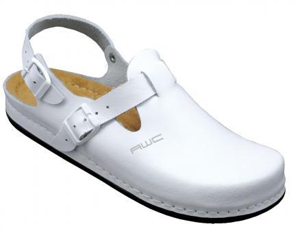 Damen-Sandale, AWC 12146, weiß, mit Ristschnalle, PU-Sohle, küchengeeignet
