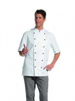 Unisex Kochjacke Leiber 12/5950, 100% Baumwolle, Kugelknöpfe, weiß