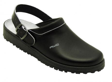 Damen-Sandale, AWC 17100, schwarz, mit Ristpolster, küchengeeignet