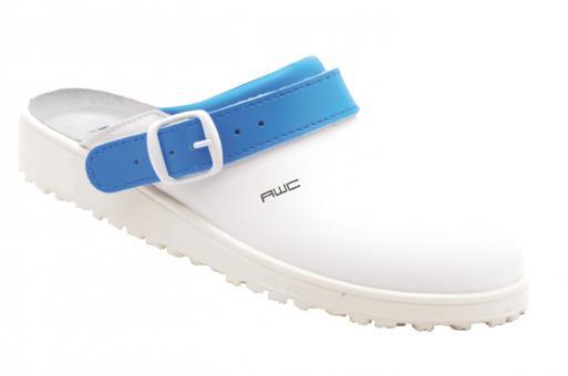 Damen-Sandale, AWC 17100, weiß/azurblau, mit Ristpolster, küchengeeignet