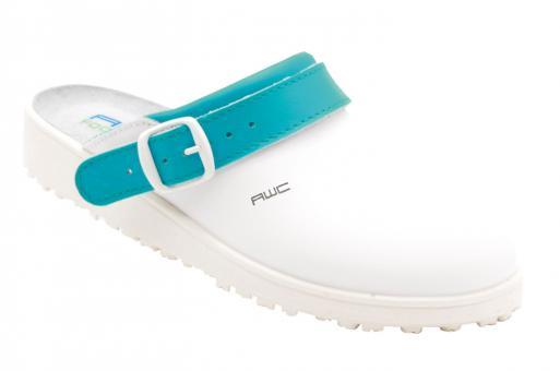Damen-Sandale, AWC 17100, weiß/petrol, mit Ristpolster, küchengeeignet