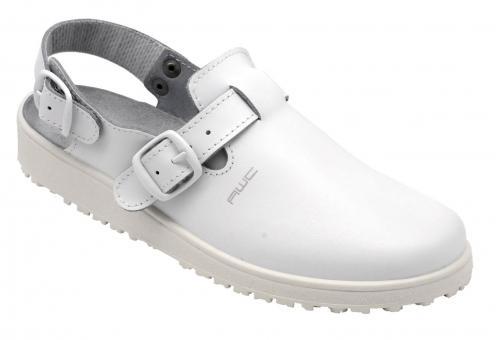 Damen-Sandale, AWC 17500, weiß, mit Rist- und Fersenriemen, küchengeeignet