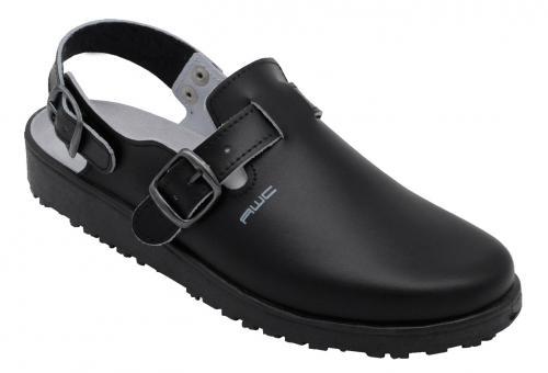 Damen-Sandale, AWC 17500, schwarz, mit Rist- und Fersenriemen, küchengeeignet