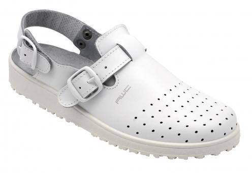 Damen-Sandale, AWC 17501, weiß, mit Rist- und Fersenriemen, perforiert, küchengeeignet